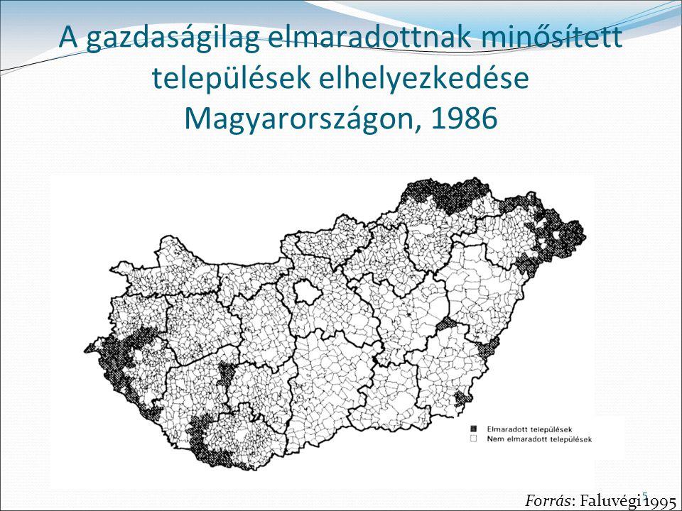 A gazdaságilag elmaradottnak minősített települések elhelyezkedése Magyarországon, 1986