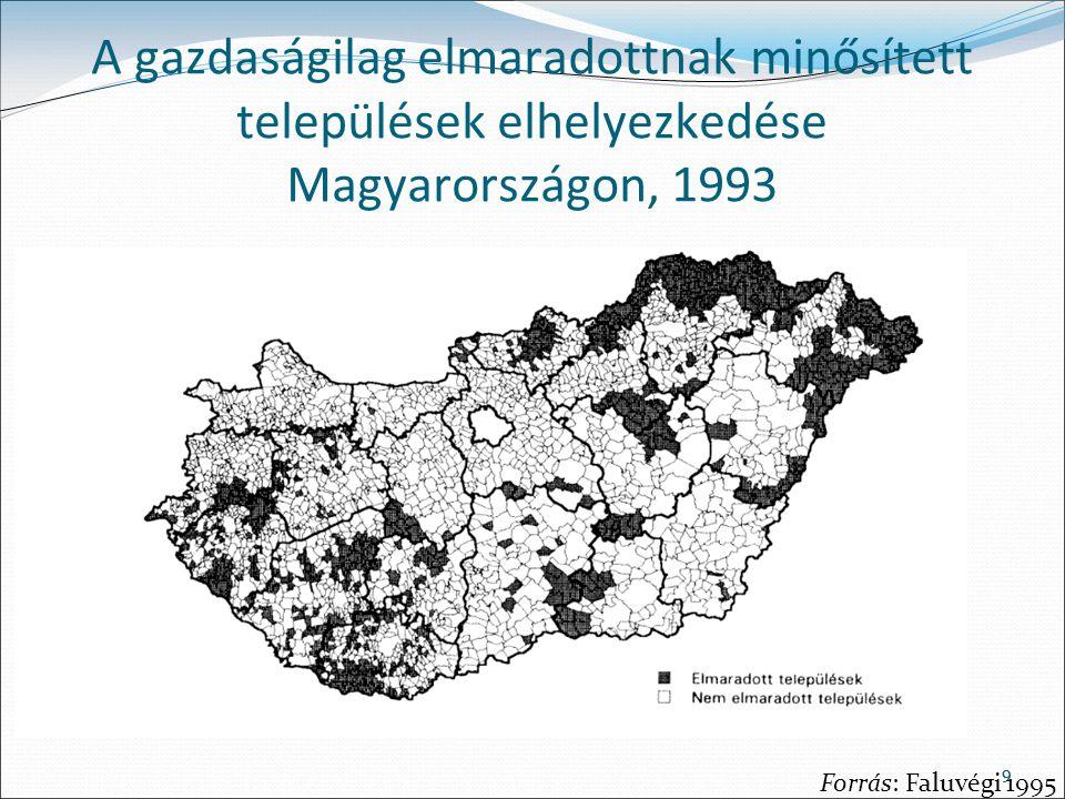 A gazdaságilag elmaradottnak minősített települések elhelyezkedése Magyarországon, 1993