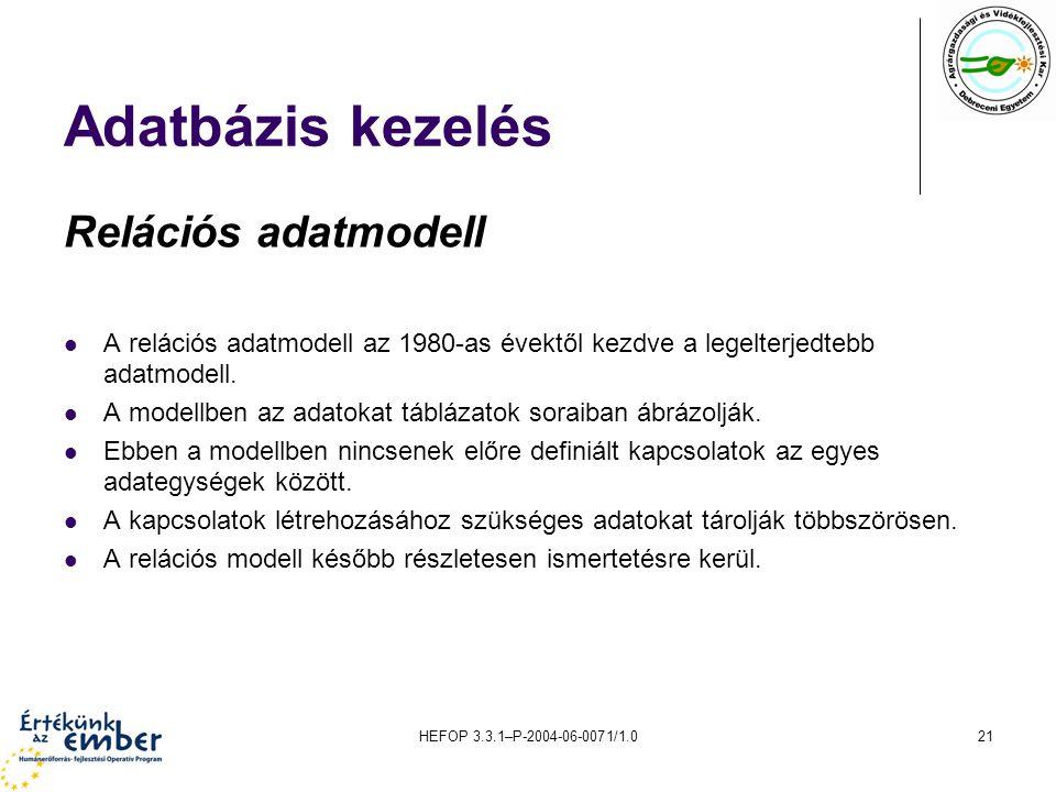 Adatbázis kezelés Relációs adatmodell
