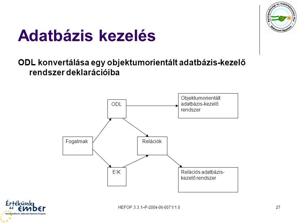 Adatbázis kezelés ODL konvertálása egy objektumorientált adatbázis-kezelő rendszer deklarációiba. Objektumorientált adatbázis-kezelő rendszer.