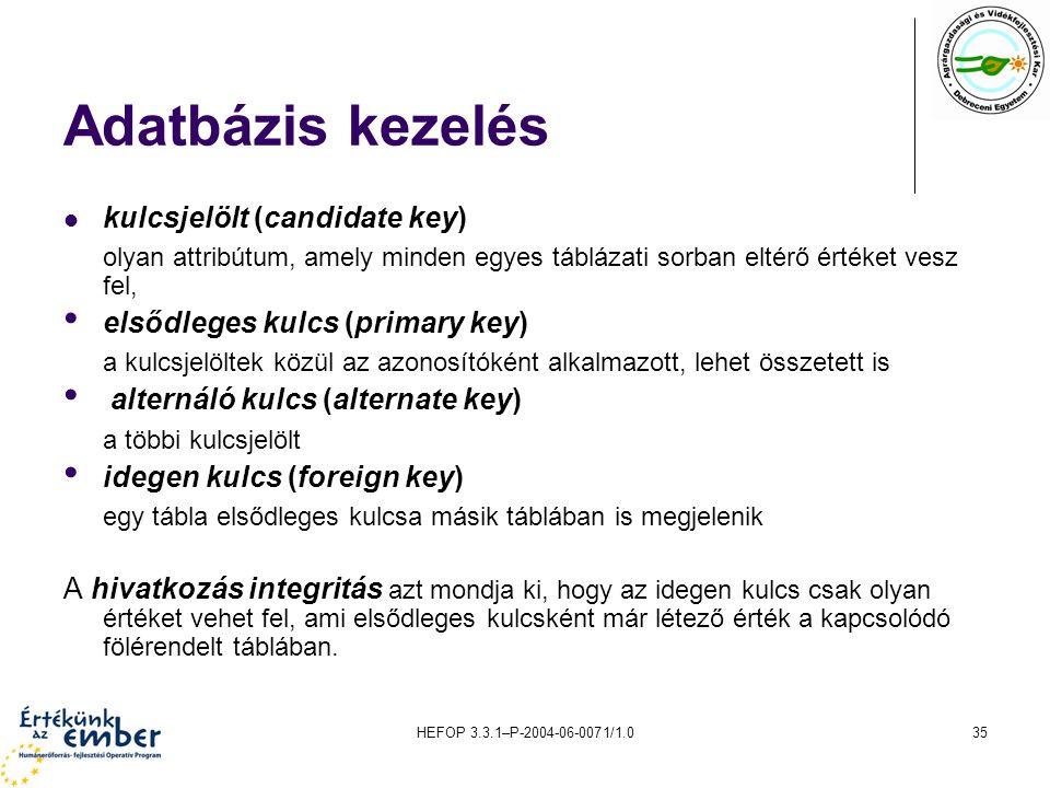 Adatbázis kezelés kulcsjelölt (candidate key)
