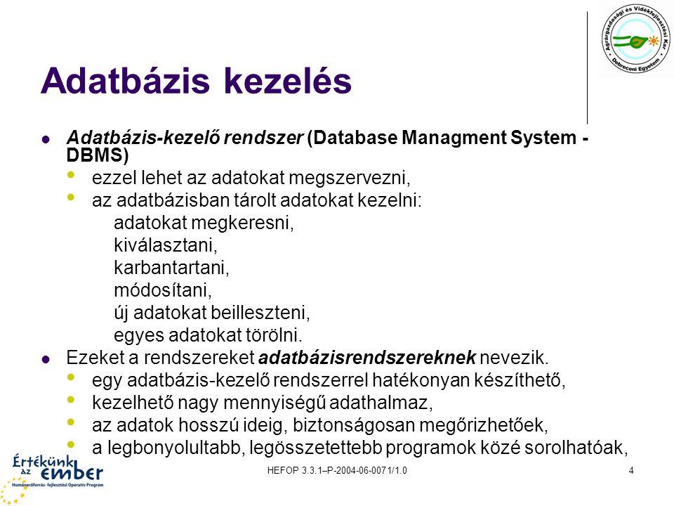 Adatbázis kezelés Adatbázis-kezelő rendszer (Database Managment System - DBMS) ezzel lehet az adatokat megszervezni,