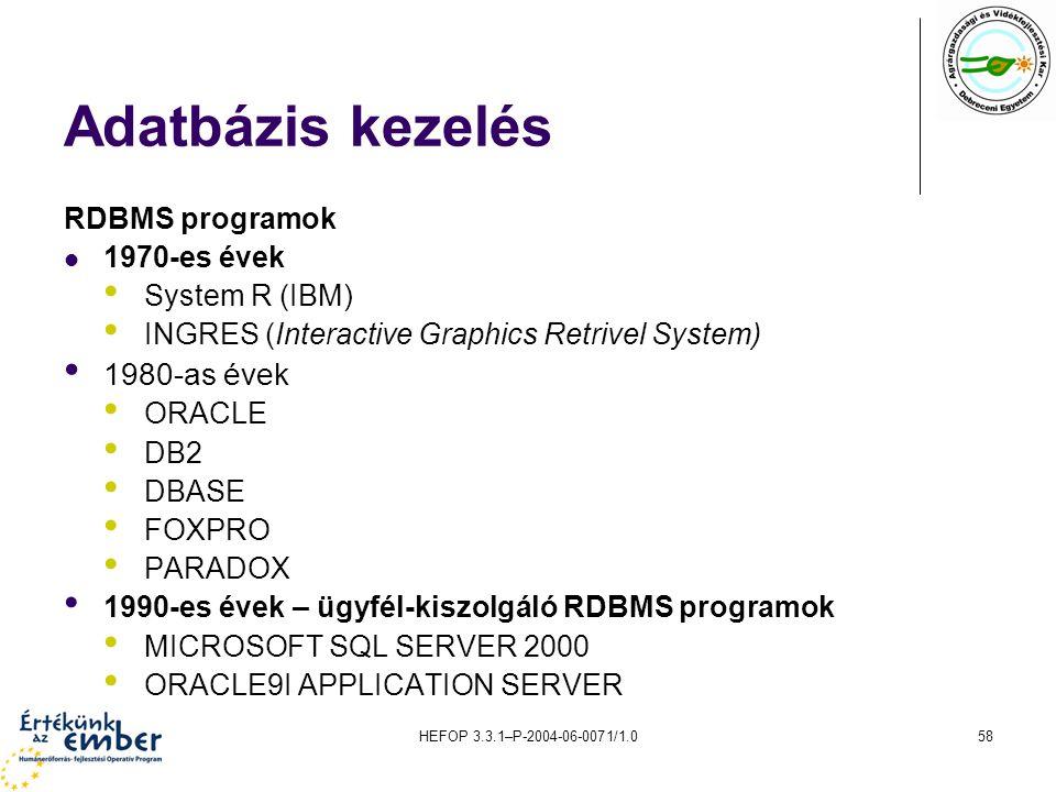 Adatbázis kezelés 1980-as évek RDBMS programok 1970-es évek