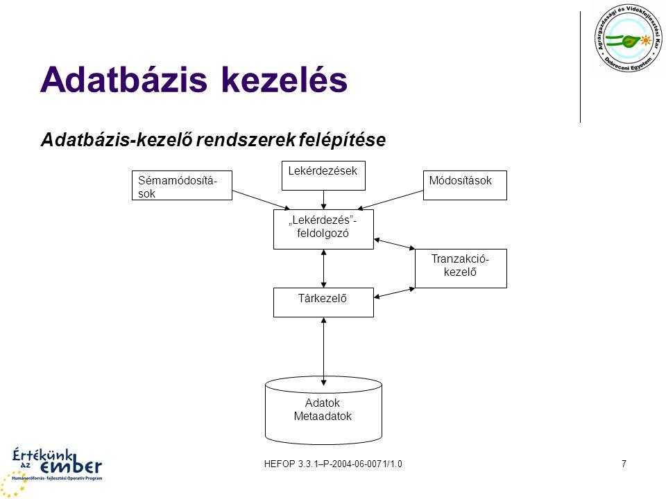 Adatbázis kezelés Adatbázis-kezelő rendszerek felépítése Adatok