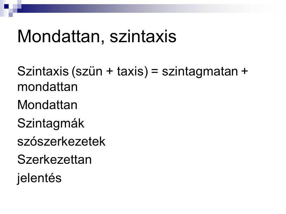 Mondattan, szintaxis Szintaxis (szün + taxis) = szintagmatan + mondattan Mondattan Szintagmák szószerkezetek Szerkezettan jelentés
