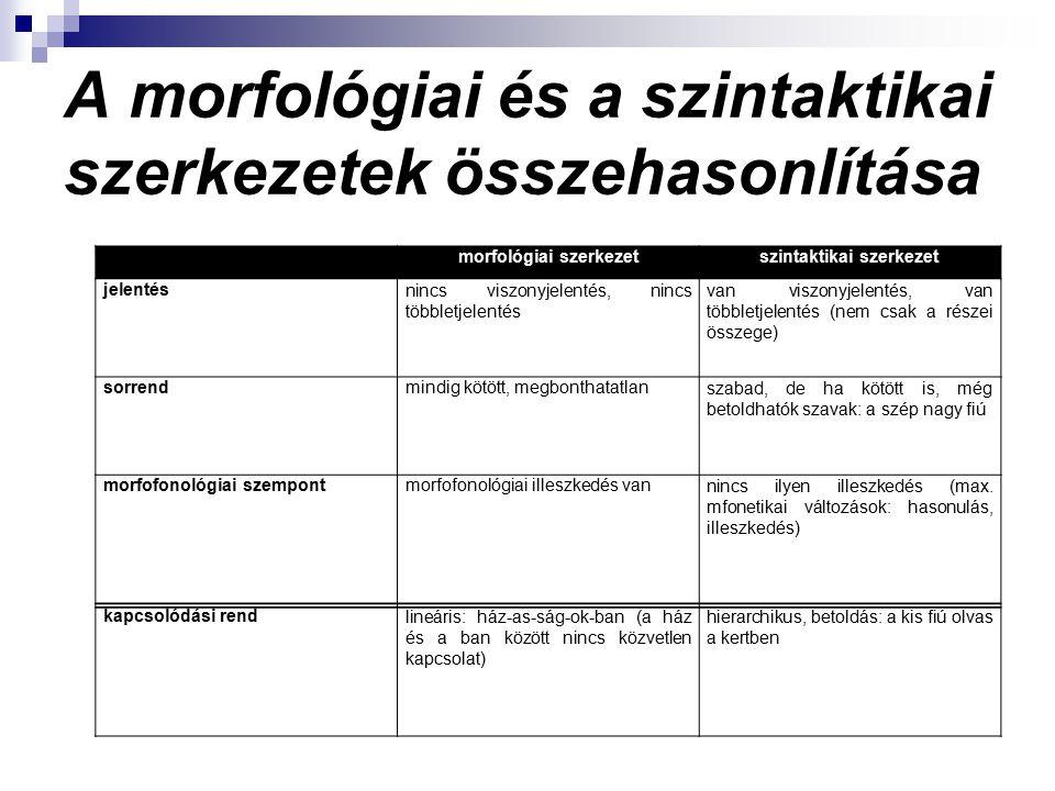 A morfológiai és a szintaktikai szerkezetek összehasonlítása