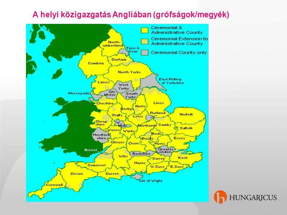 A helyi közigazgatás Angliában (grófságok/megyék)