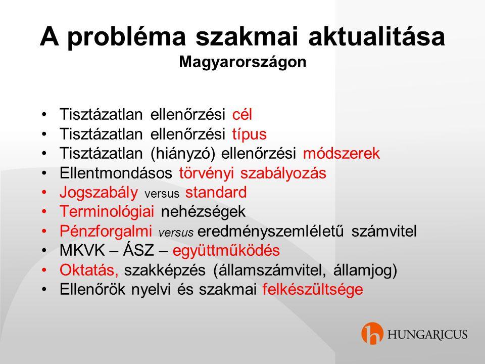 A probléma szakmai aktualitása Magyarországon