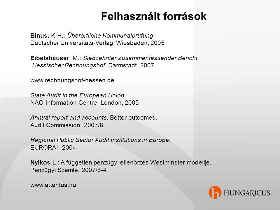 Felhasznált források Binus, K-H.: Überörtliche Kommunalprüfung.
