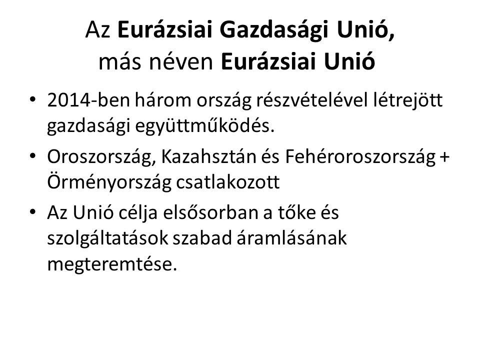 Az Eurázsiai Gazdasági Unió, más néven Eurázsiai Unió