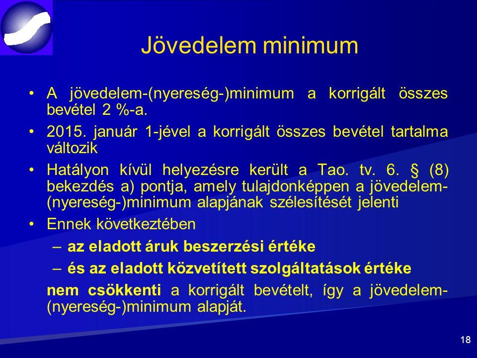 Jövedelem minimum A jövedelem-(nyereség-)minimum a korrigált összes bevétel 2 %-a. 2015. január 1-jével a korrigált összes bevétel tartalma változik.