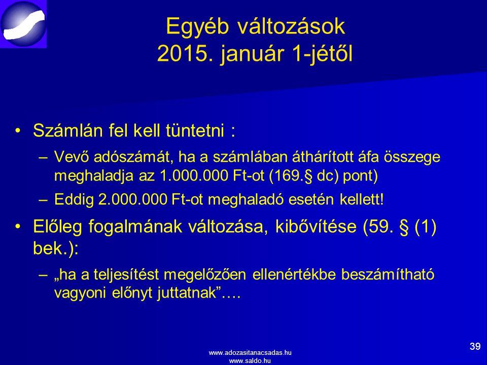 Egyéb változások 2015. január 1-jétől