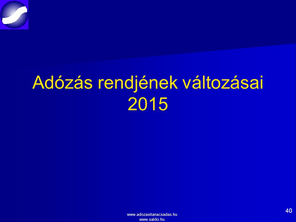 Adózás rendjének változásai 2015