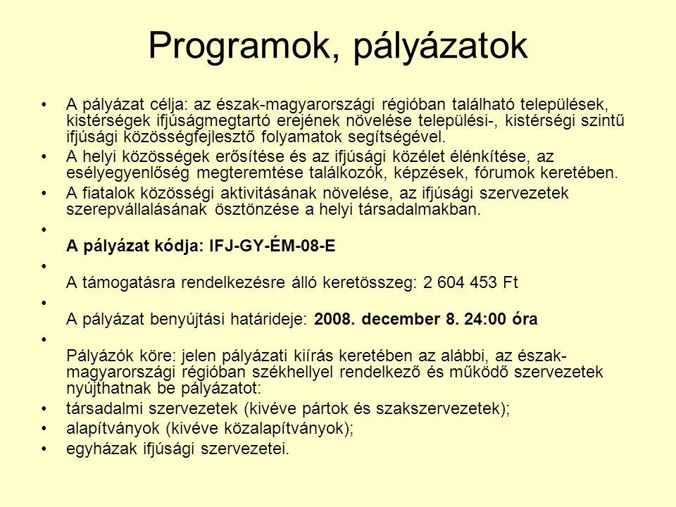 Programok, pályázatok