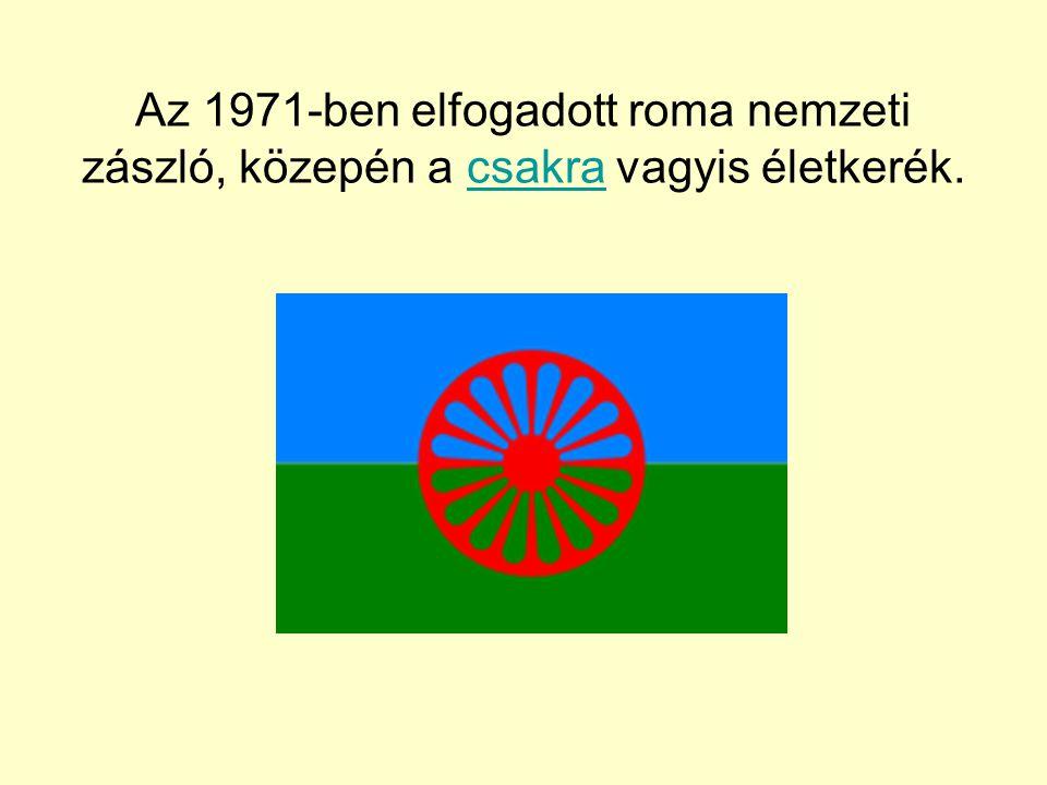 Az 1971-ben elfogadott roma nemzeti zászló, közepén a csakra vagyis életkerék.