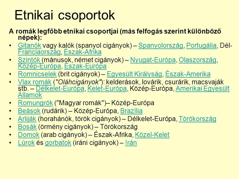 Etnikai csoportok A romák legfőbb etnikai csoportjai (más felfogás szerint különböző népek):