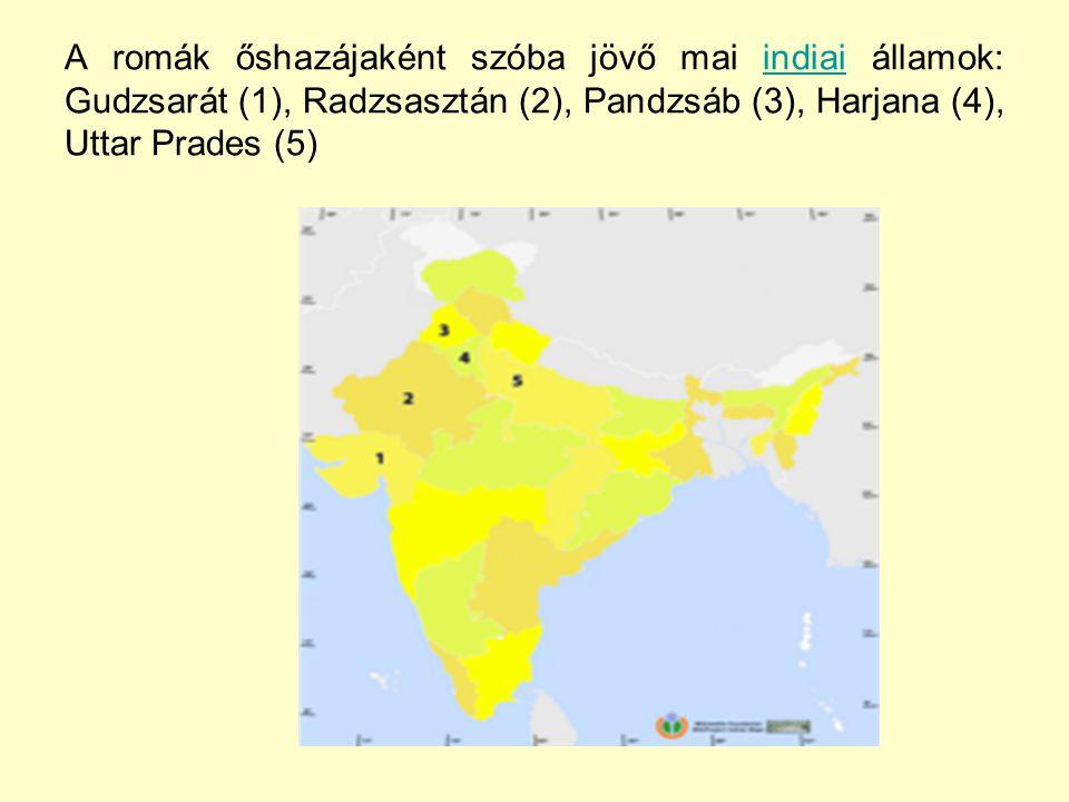 A romák őshazájaként szóba jövő mai indiai államok: Gudzsarát (1), Radzsasztán (2), Pandzsáb (3), Harjana (4), Uttar Prades (5)
