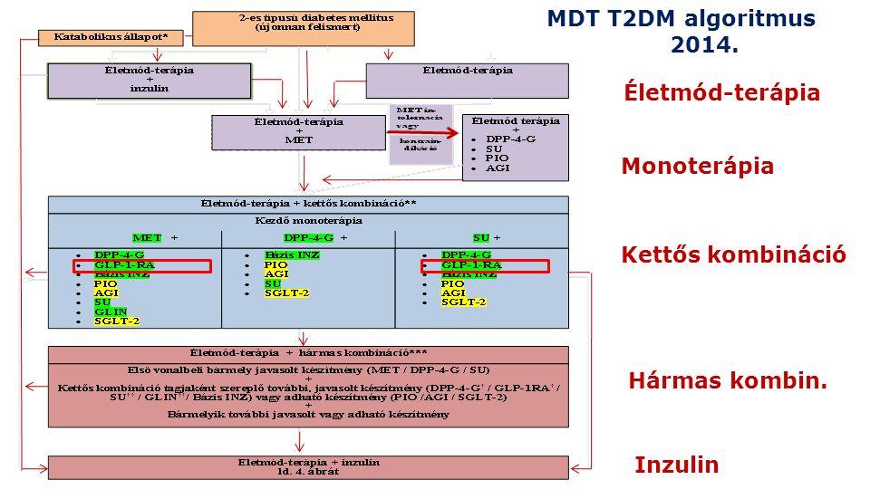 MDT T2DM algoritmus 2014. Életmód-terápia Monoterápia Kettős kombináció Hármas kombin. Inzulin