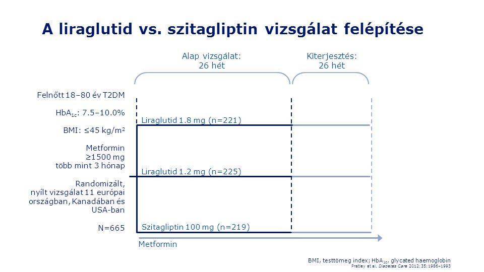 A liraglutid vs. szitagliptin vizsgálat felépítése