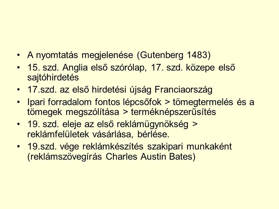 A nyomtatás megjelenése (Gutenberg 1483)