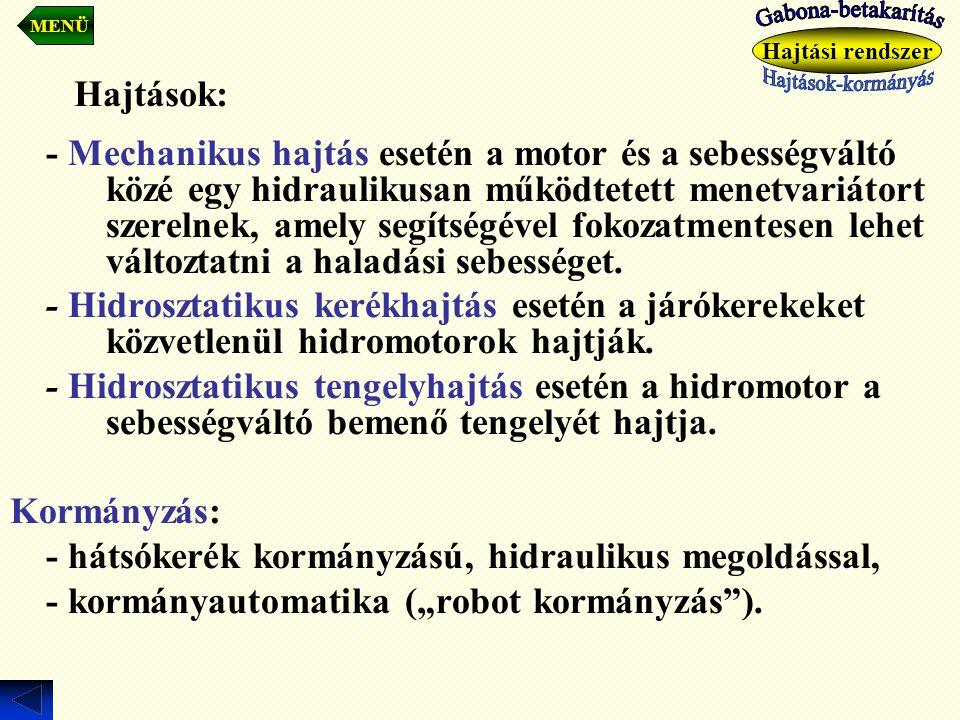 - hátsókerék kormányzású, hidraulikus megoldással,