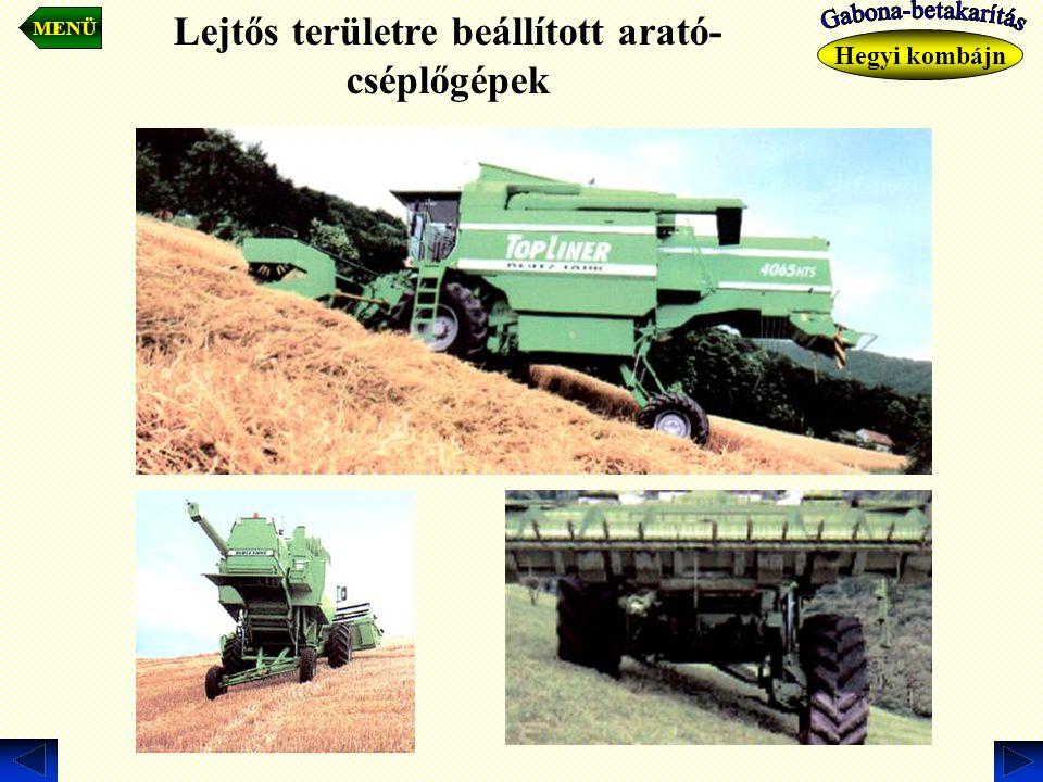 Lejtős területre beállított arató-cséplőgépek