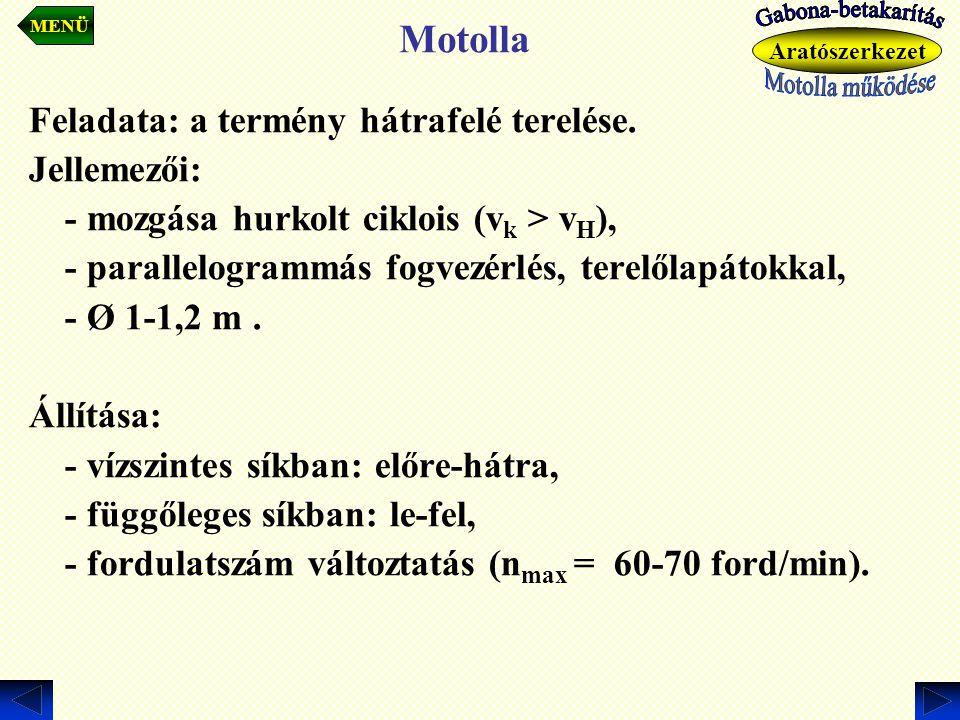 Motolla Feladata: a termény hátrafelé terelése. Jellemezői: