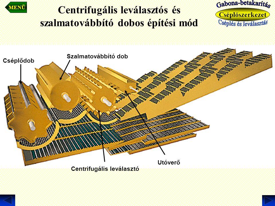 Centrifugális leválasztós és szalmatovábbító dobos építési mód