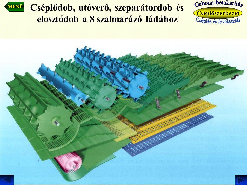 Cséplődob, utóverő, szeparátordob és elosztódob a 8 szalmarázó ládához