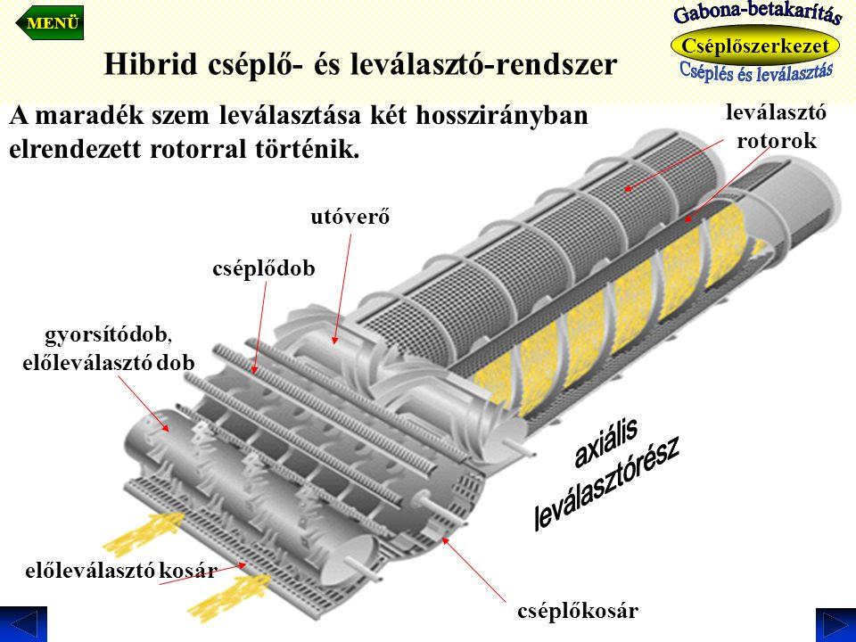 Hibrid cséplő- és leválasztó-rendszer