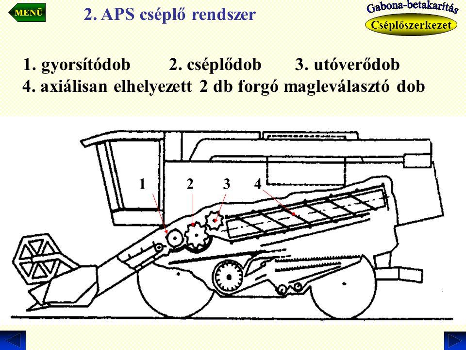MENÜ 2. APS cséplő rendszer. Gabona-betakarítás. Gabona-betakarítás. Cséplőszerkezet.