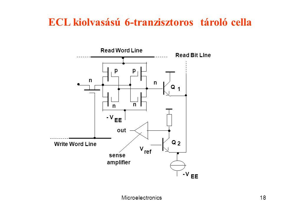 ECL kiolvasású 6-tranzisztoros tároló cella