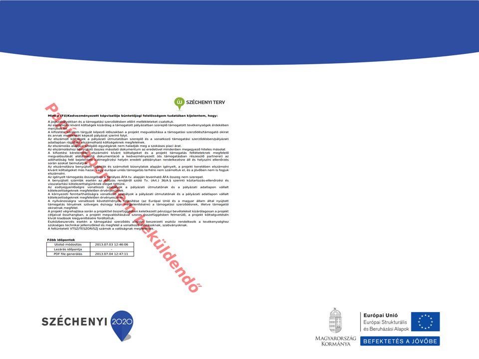 A kifizetési kérelem utolsó oldalának alján szerepel az IDŐBÉLYEG, mely tartalmazza, hogy az elszámolást mikor módosították utoljára és küldték be EMIR-be.