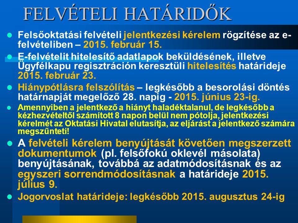 FELVÉTELI HATÁRIDŐK Felsőoktatási felvételi jelentkezési kérelem rögzítése az e-felvételiben – 2015. február 15.