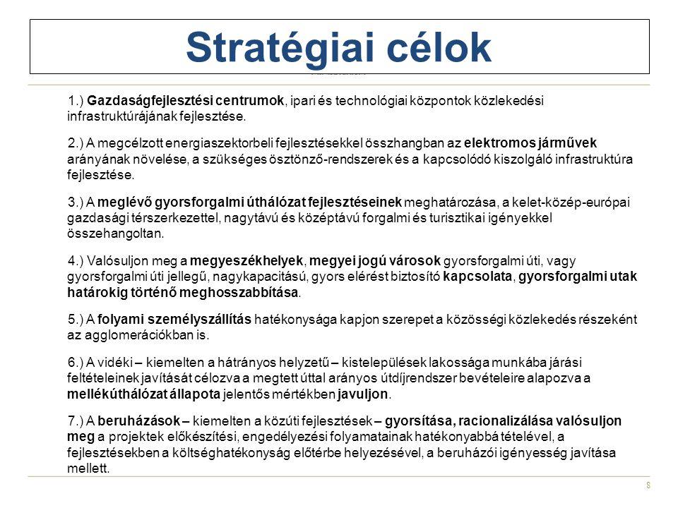 Stratégiai célok 1.) Gazdaságfejlesztési centrumok, ipari és technológiai központok közlekedési infrastruktúrájának fejlesztése.