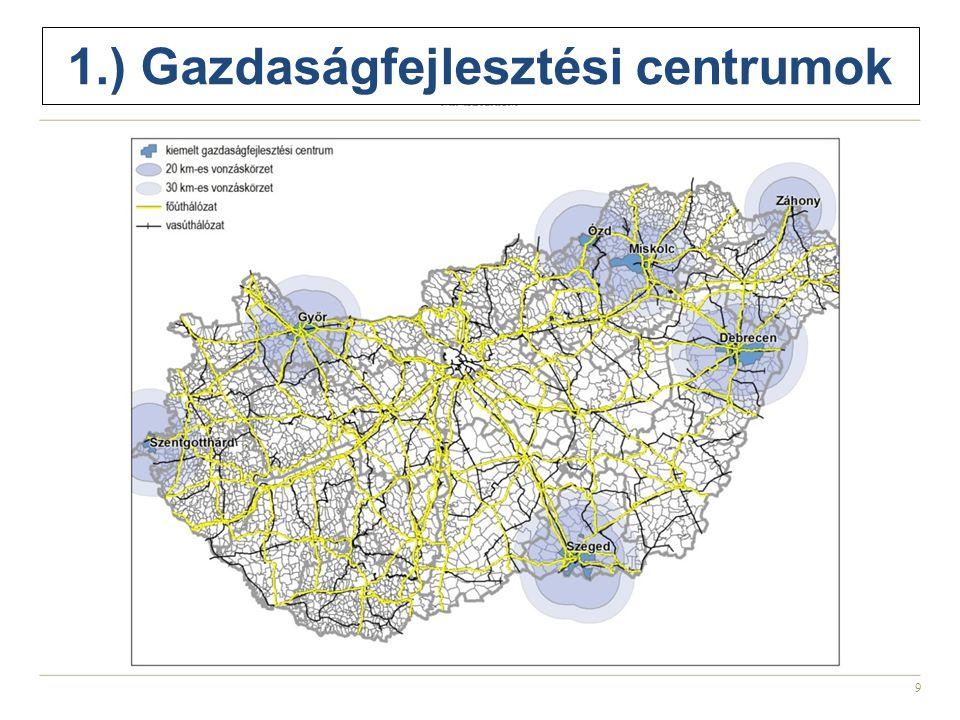 1.) Gazdaságfejlesztési centrumok