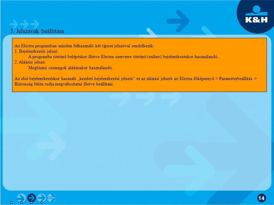 5. Jelszavak beállítása Az Electra programban minden felhasználó két típusú jelszóval rendelkezik: 1. Bejelentkezési jelszó: