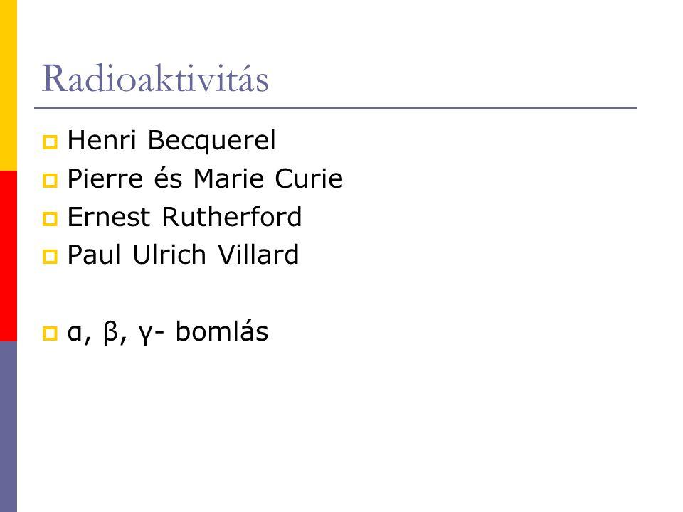 Radioaktivitás Henri Becquerel Pierre és Marie Curie Ernest Rutherford