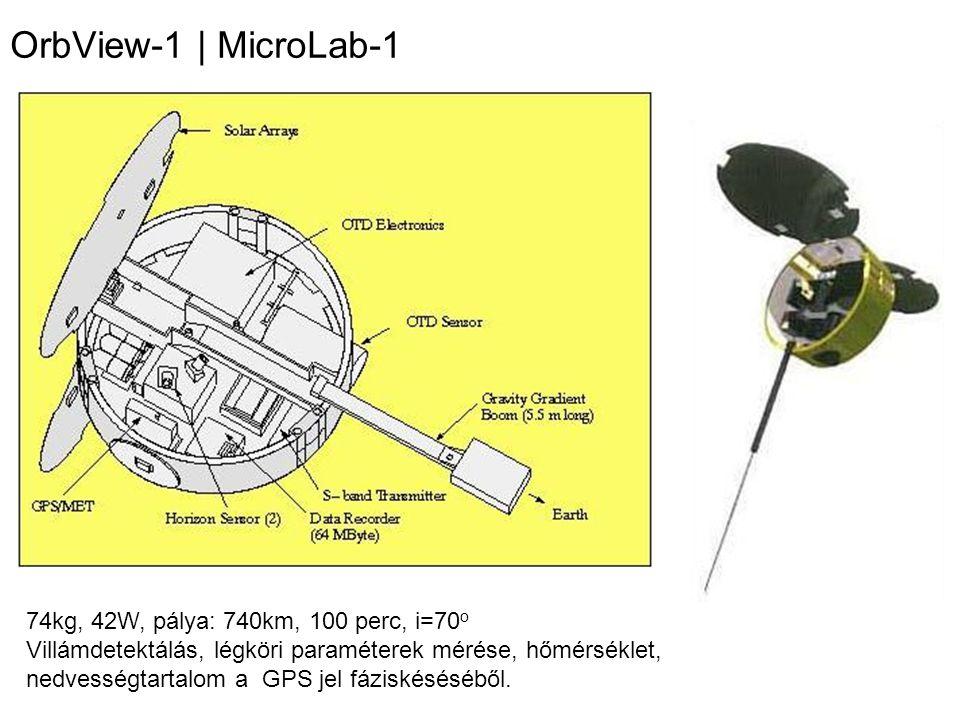 OrbView-1 | MicroLab-1 74kg, 42W, pálya: 740km, 100 perc, i=70o