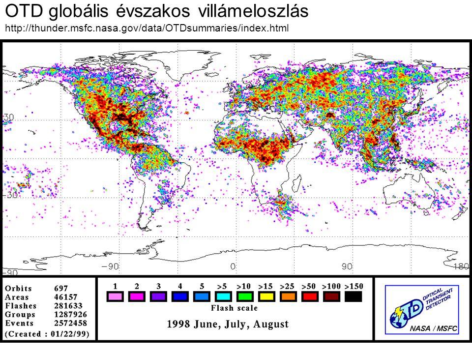 OTD globális évszakos villámeloszlás http://thunder. msfc. nasa