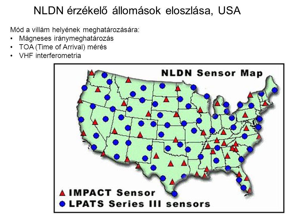 NLDN érzékelő állomások eloszlása, USA