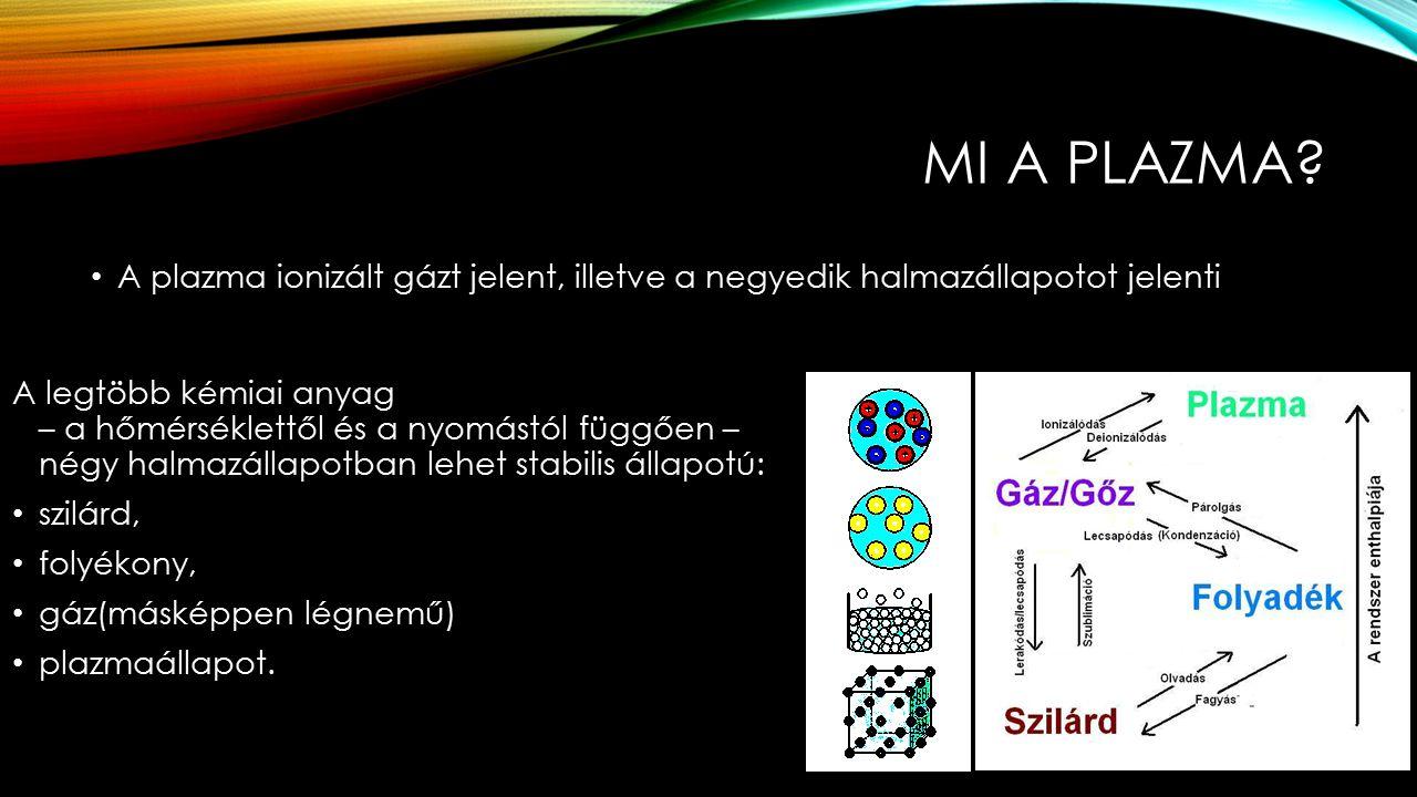 Mi a plazma A plazma ionizált gázt jelent, illetve a negyedik halmazállapotot jelenti.
