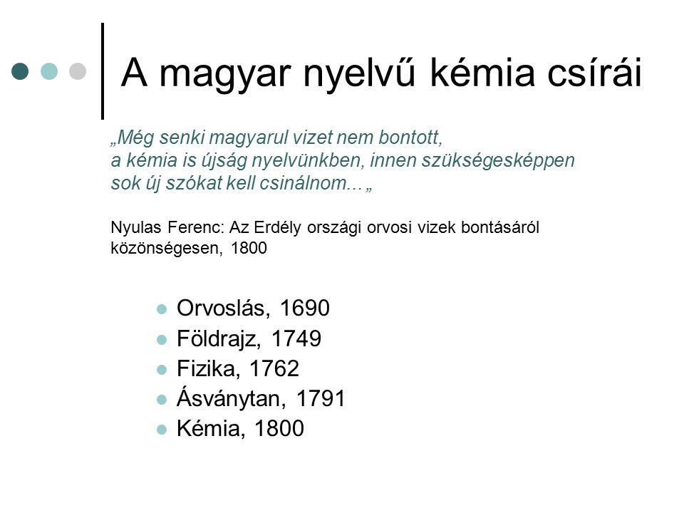 A magyar nyelvű kémia csírái