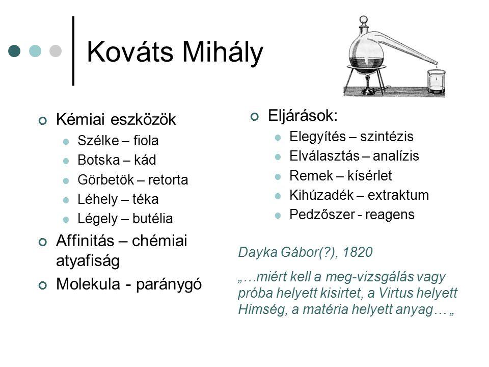 Kováts Mihály Eljárások: Kémiai eszközök Affinitás – chémiai atyafiság