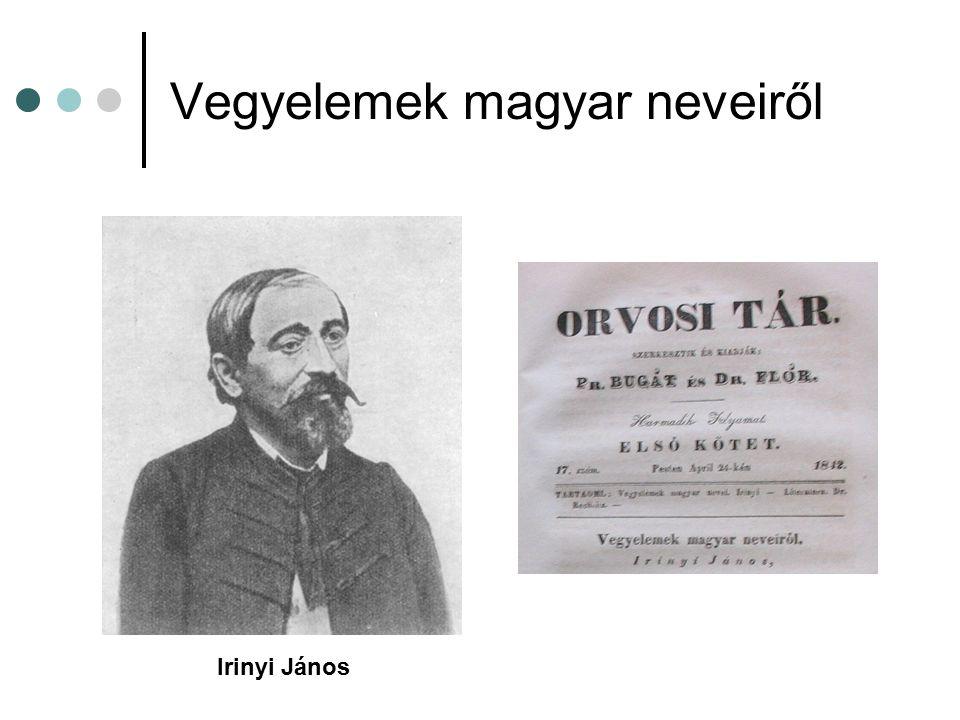 Vegyelemek magyar neveiről