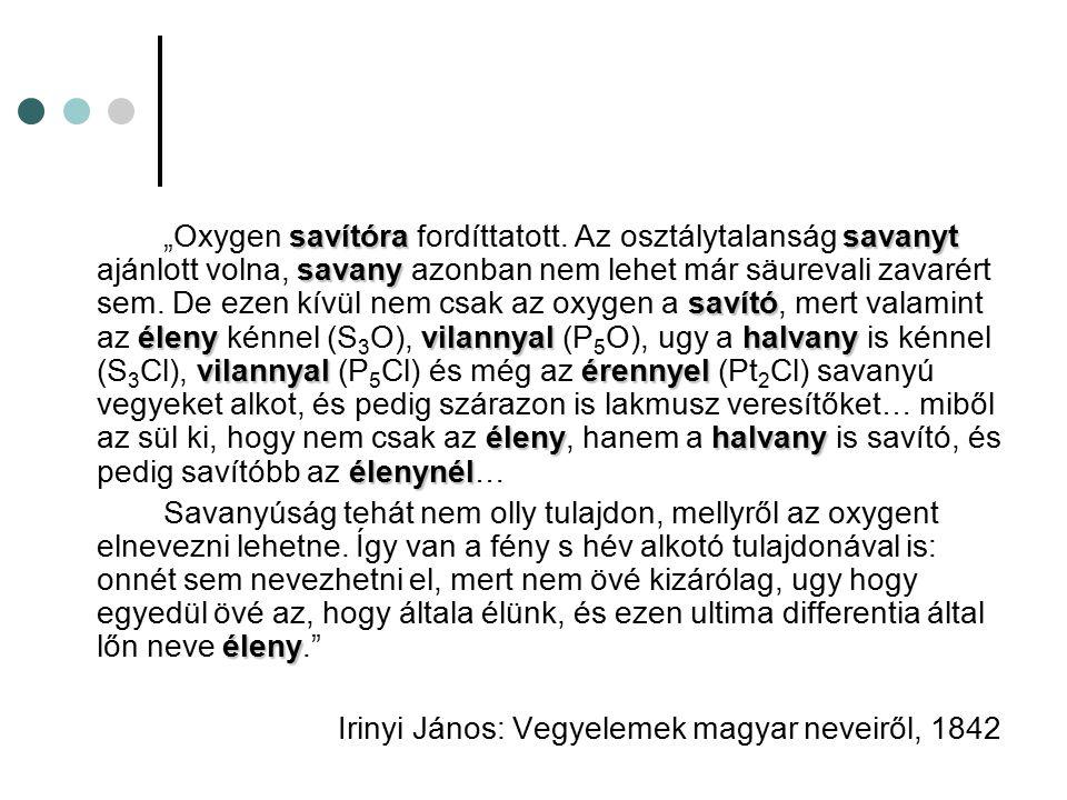 Irinyi János: Vegyelemek magyar neveiről, 1842