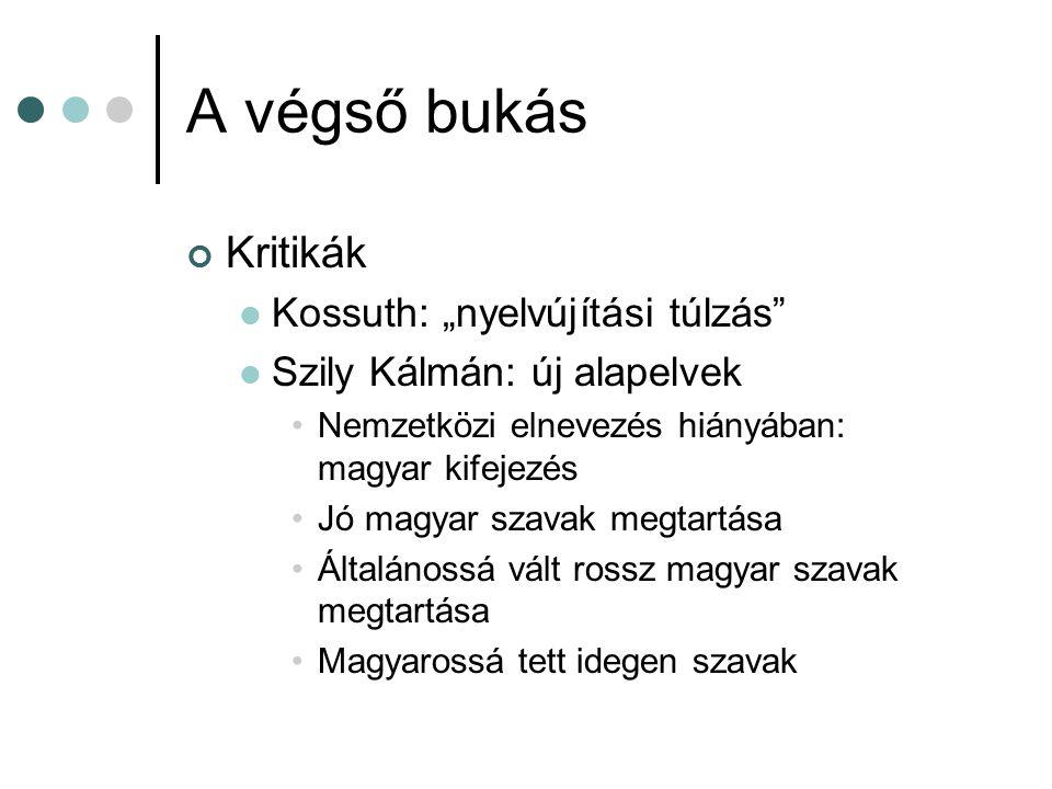 """A végső bukás Kritikák Kossuth: """"nyelvújítási túlzás"""