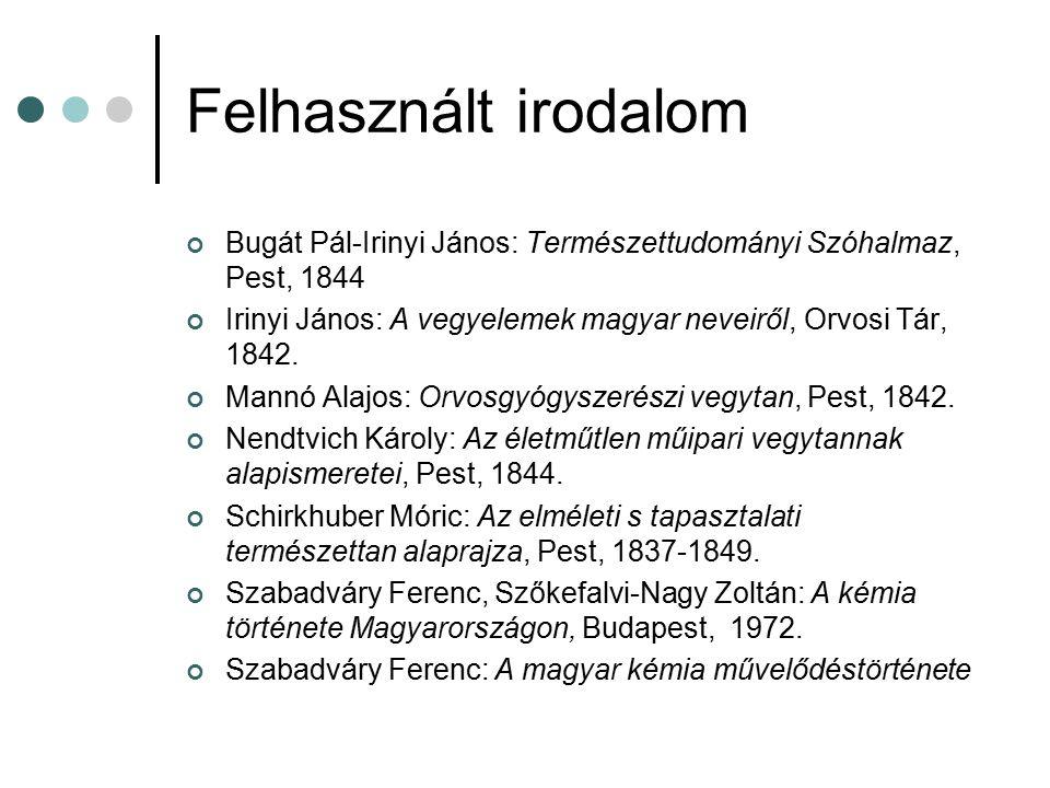 Felhasznált irodalom Bugát Pál-Irinyi János: Természettudományi Szóhalmaz, Pest, 1844. Irinyi János: A vegyelemek magyar neveiről, Orvosi Tár, 1842.