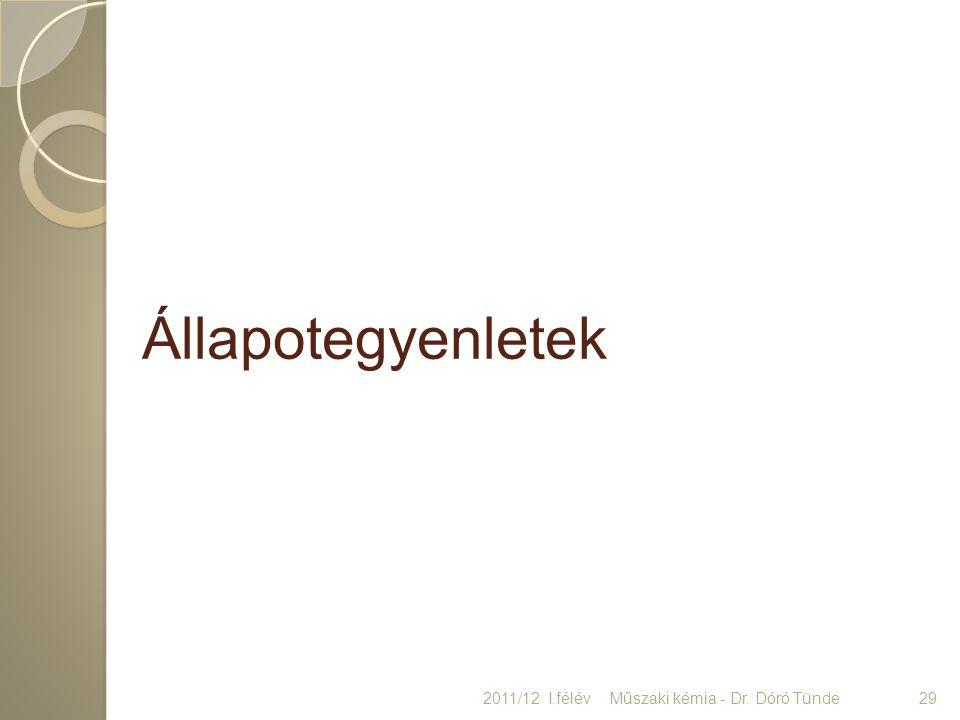 Állapotegyenletek 2011/12 I.félév Műszaki kémia - Dr. Dóró Tünde 29