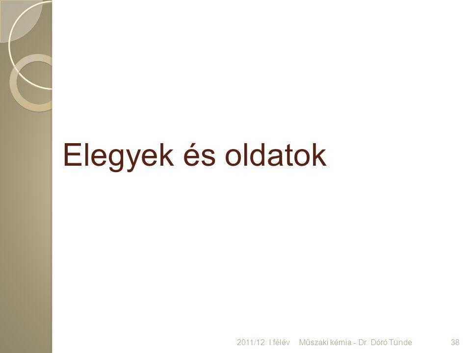 Elegyek és oldatok 2011/12 I.félév Műszaki kémia - Dr. Dóró Tünde 38